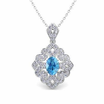 Art Deco Inspired Diamond and Blue Topaz Necklace in 14k Gold 7x5mm