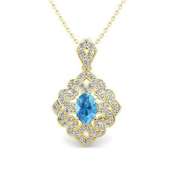 Art Deco Inspired Diamond and Blue Topaz Necklace in 18k Gold 7x5mm