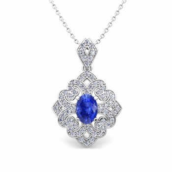 Art Deco Inspired Diamond and Ceylon Sapphire Necklace in 14k Gold 7x5mm