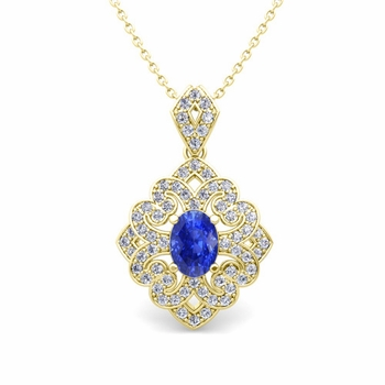 Art Deco Inspired Diamond and Ceylon Sapphire Necklace in 18k Gold 7x5mm