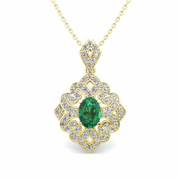 Art Deco Inspired Diamond and Emerald Necklace in 18k Gold 7x5mm