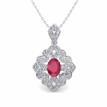 Art Deco Inspired Diamond and Ruby Necklace in 14k Gold 7x5mm