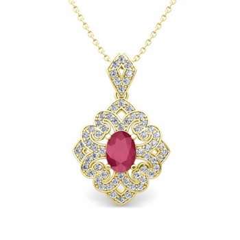 Art Deco Inspired Diamond and Ruby Necklace in 18k Gold 7x5mm