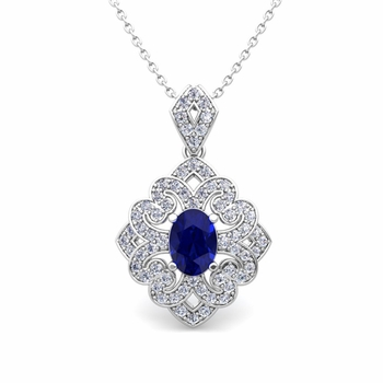 Art Deco Inspired Diamond and Sapphire Necklace in 14k Gold 7x5mm