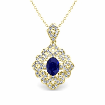 Art Deco Inspired Diamond and Sapphire Necklace in 18k Gold 7x5mm