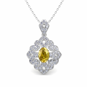 Art Deco Inspired Diamond and Yellow Sapphire Necklace in 14k Gold 7x5mm