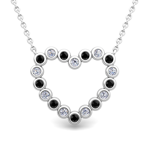 Bezel black and white diamond heart necklace in 18k gold pendant bezel black and white diamond heart necklace aloadofball Image collections