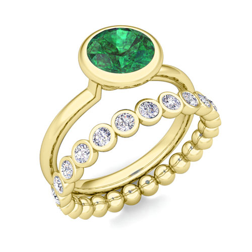 Emerald Ring and Diamond Wedding Ring Bridal Set in 14k Gold, 5mm