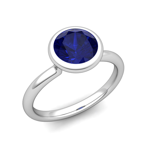 Bezel Set Solitaire Blue Sapphire Engagement Ring In 14k Gold 6mm