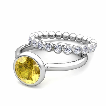 Bezel Set Yellow Sapphire Ring and Diamond Wedding Ring Bridal Set in 14k Gold, 5mm