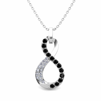 Black and White Diamond Necklace in 14k Gold Infinity Pendant
