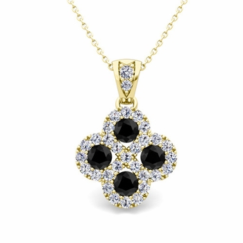 Black and White Diamond Necklace in 18k Gold Infinity Pendant