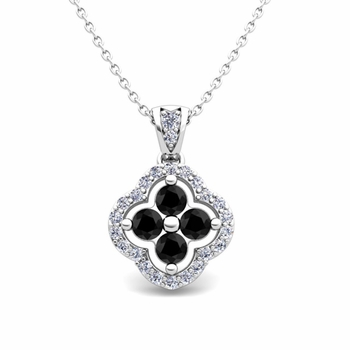 Black and White Diamond Pendant in 14k Gold Clover Necklace