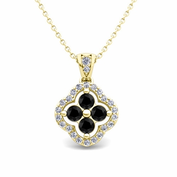 Black and White Diamond Pendant in 18k Gold Clover Necklace