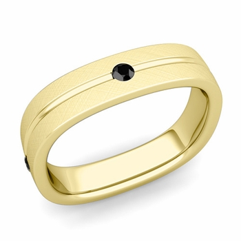Black Diamond Wedding Ring in 18k Gold Brushed Square Wedding Band, 5mm