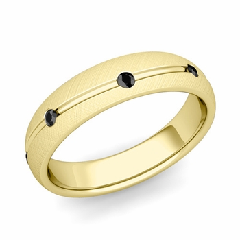 Black Diamond Wedding Ring in 18k Gold Brushed Wave Wedding Band, 5mm