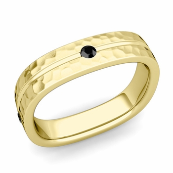 Black Diamond Wedding Ring in 18k Gold Hammered Square Wedding Band, 5mm