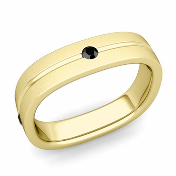 Black Diamond Wedding Ring in 18k Gold Satin Square Wedding Band, 5mm