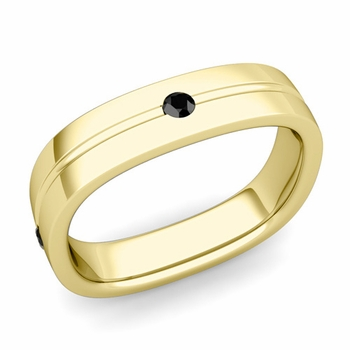 Black Diamond Wedding Ring in 18k Gold Shiny Square Wedding Band, 5mm