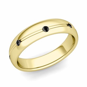 Black Diamond Wedding Ring in 18k Gold Shiny Wave Wedding Band, 5mm
