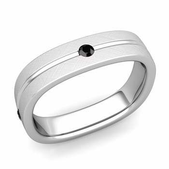 Black Diamond Wedding Ring in Platinum Brushed Square Wedding Band, 5mm