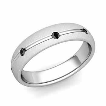 Black Diamond Wedding Ring in Platinum Brushed Wave Wedding Band, 5mm