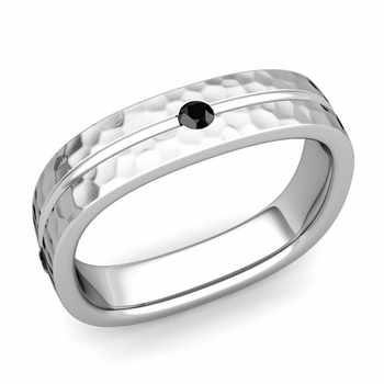Black Diamond Wedding Ring in Platinum Hammered Square Wedding Band, 5mm
