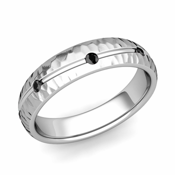 Black Diamond Wedding Ring in Platinum Hammered Wave Wedding Band, 5mm