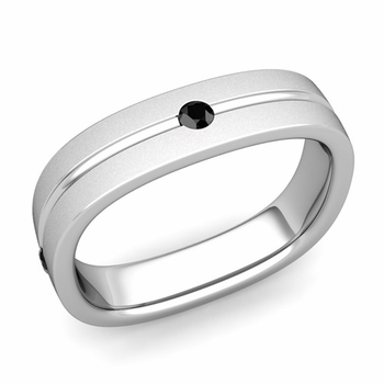Black Diamond Wedding Ring in Platinum Satin Square Wedding Band, 5mm