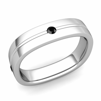 Black Diamond Wedding Ring in Platinum Shiny Square Wedding Band, 5mm
