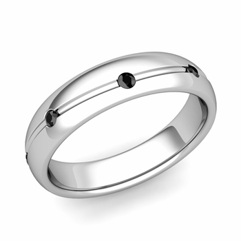 Black Diamond Wedding Ring in Platinum Shiny Wave Wedding Band, 5mm