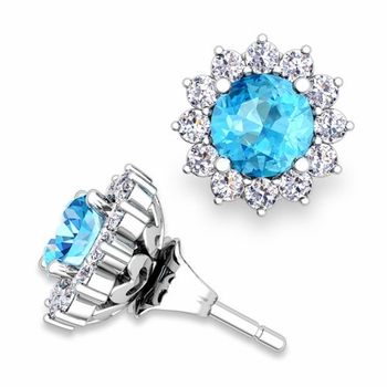 Halo Diamond Earring Jackets and Blue Topaz Studs in 14k Gold, 5mm