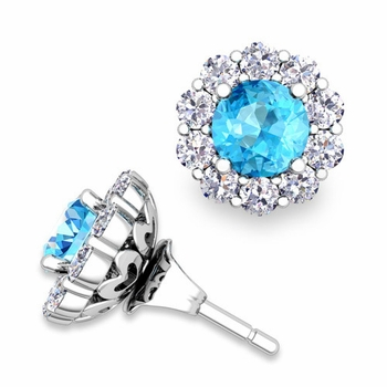 Blue Topaz Studs and Halo Diamond Earring Jackets in 14k Gold, 5mm