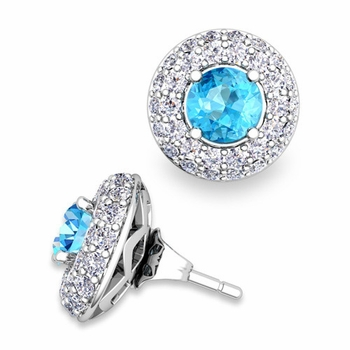 Pave Diamond Earring Jackets and Blue Topaz Studs in 14k Gold, 5mm
