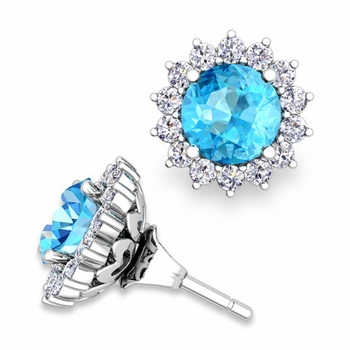 Halo Diamond Earring Jackets and Blue Topaz Studs in 14k Gold, 6mm