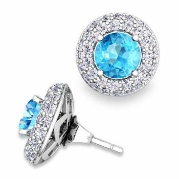 Pave Diamond Earring Jackets and Blue Topaz Studs in 14k Gold, 6mm