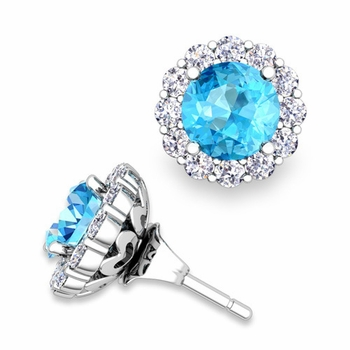 Blue Topaz Studs and Halo Diamond Earring Jackets in 14k Gold, 6mm