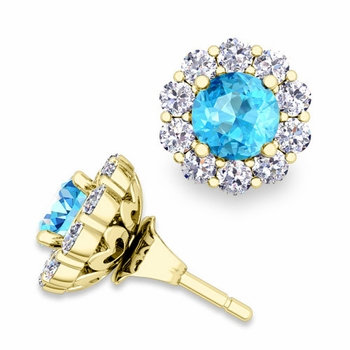 Blue Topaz Studs and Halo Diamond Earring Jackets in 18k Gold, 5mm