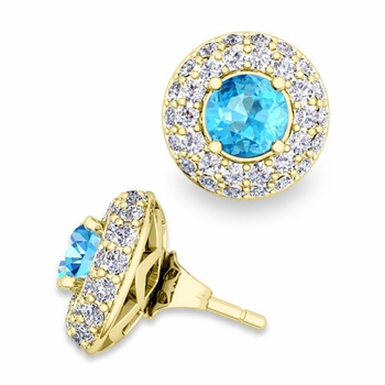 Pave Diamond Earring Jackets and Blue Topaz Studs in 18k Gold, 5mm