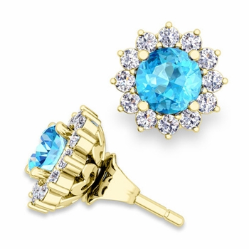 Halo Diamond Earring Jackets and Blue Topaz Studs in 18k Gold, 5mm