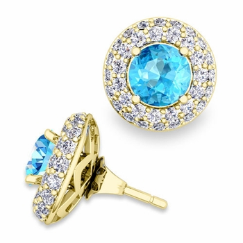 Pave Diamond Earring Jackets and Blue Topaz Studs in 18k Gold, 6mm
