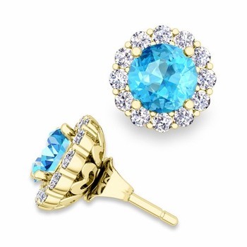 Blue Topaz Studs and Halo Diamond Earring Jackets in 18k Gold, 6mm