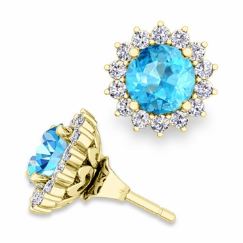 Halo Diamond Earring Jackets and Blue Topaz Studs in 18k Gold, 6mm