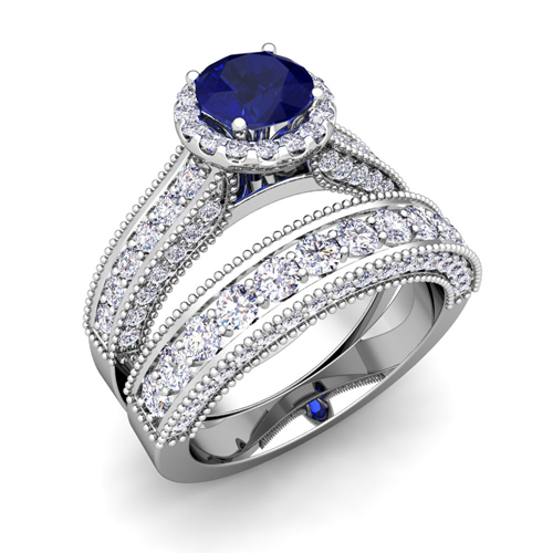 Bridal Set 14k Gold Heirloom Diamond Sapphire Engagement Ring 5mm