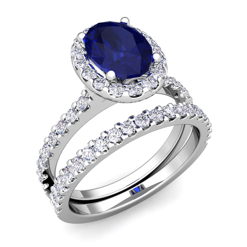 Halo Bridal Set Diamond Sapphire Engagement Ring 14k Gold 7x5mm