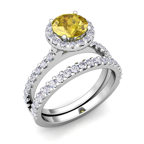 halo bridal set yellow sapphire engagement wedding ring