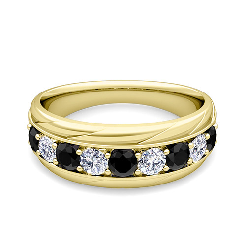 black diamond mens wedding ring black and white mens wedding band ring in 14k gold 1836