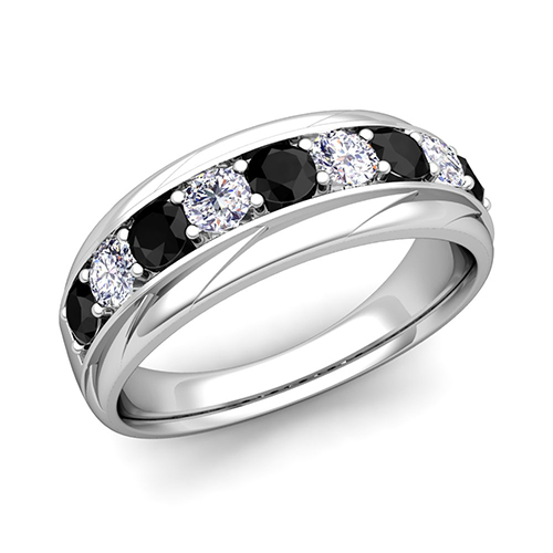 black and white diamond mens wedding band ring in 18k gold