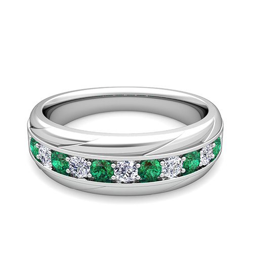 Diamond and Emerald Wedding Anniversary Ring Band in 14k Gold