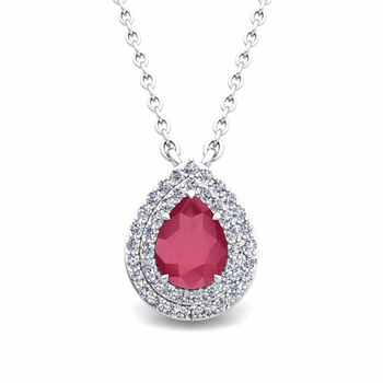 Brilliant Diamond and Pear Ruby Necklace in 14k Gold Drop Pendant